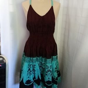Sundress Made in India Turquoise & Brown